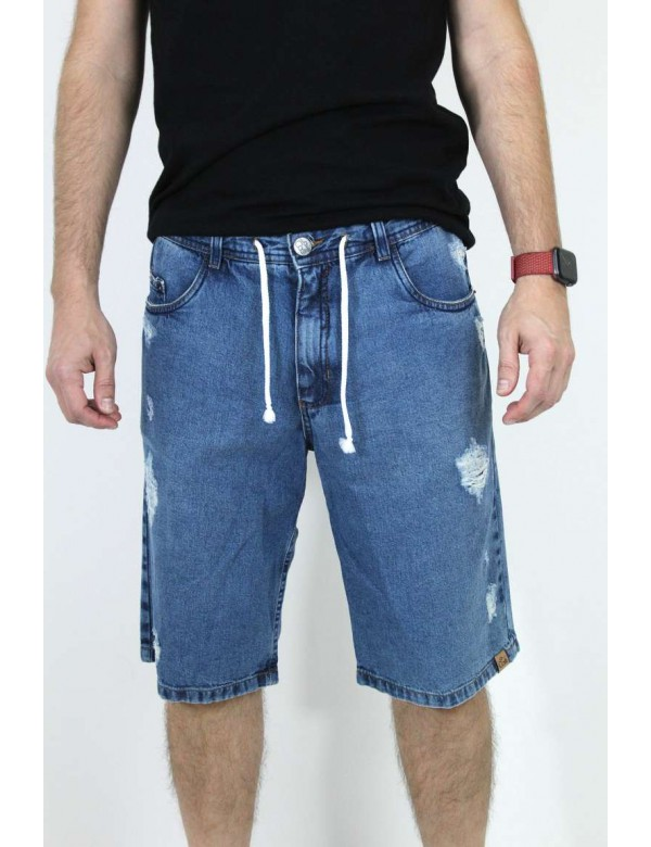 BERMUDA JEANS DESTROYED CORDÃO EMBUTIDO - Jeans