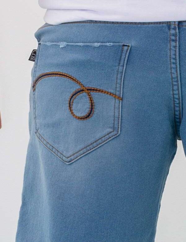 BERMUDA MASCULINA JEANS MOLETOM CLARA BARRA VIRADA - Jeans