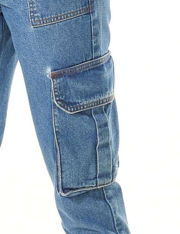 CALÇA CARGO BARRA DESFIADA C/CORDÃO - Jeans