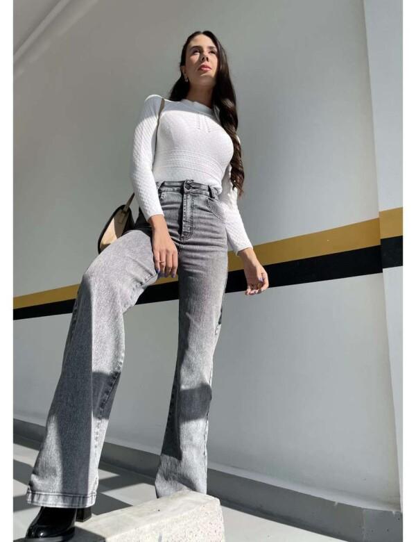 CALÇA FEMININA WIDE LEG COM ELASTANO - Jeans