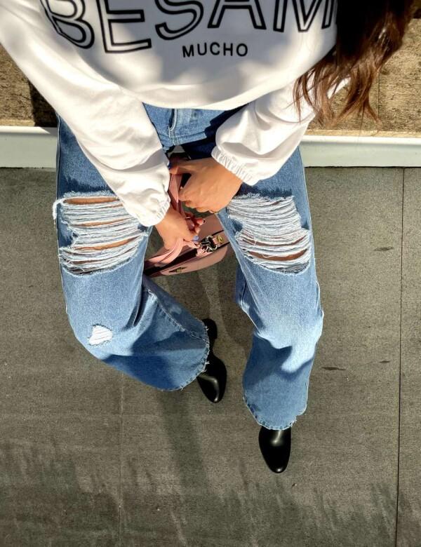 CALÇA FEMININA WIDE LEG DESTROYED - Jeans