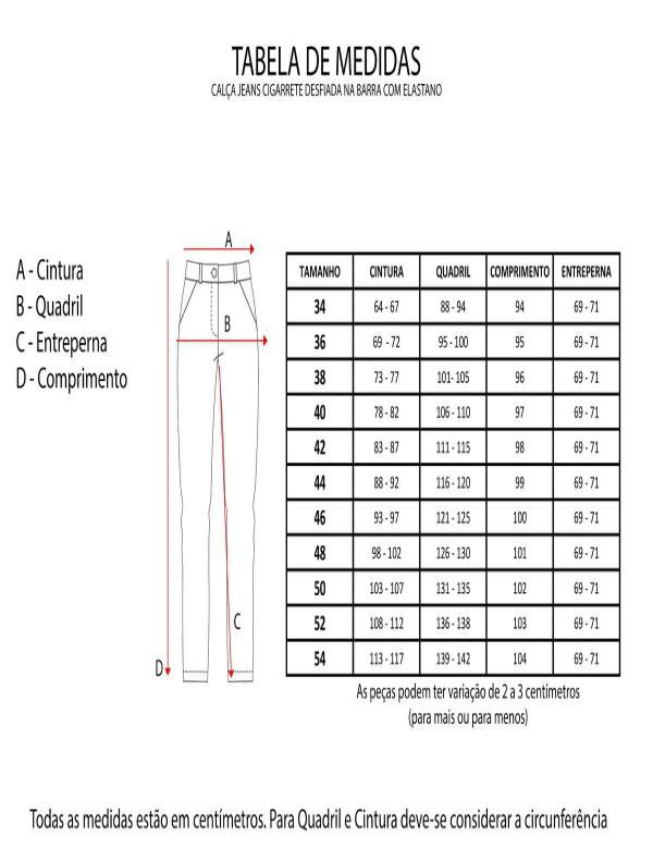 CALÇA JEANS CIGARRETE DESFIADA NA BARRA COM ELASTANO - Jeans