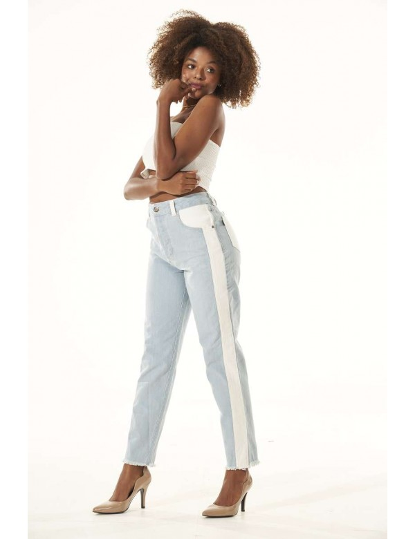 CALÇA JEANS FEMININA C/DETALHE LATERAL - Jeans
