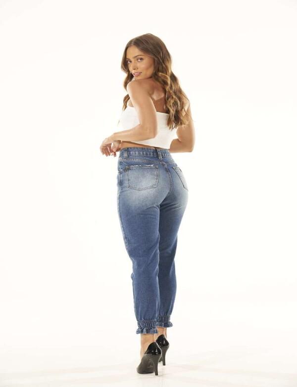 CALÇA JEANS FEMININA ELÁSTICO NA BOCA - Jeans