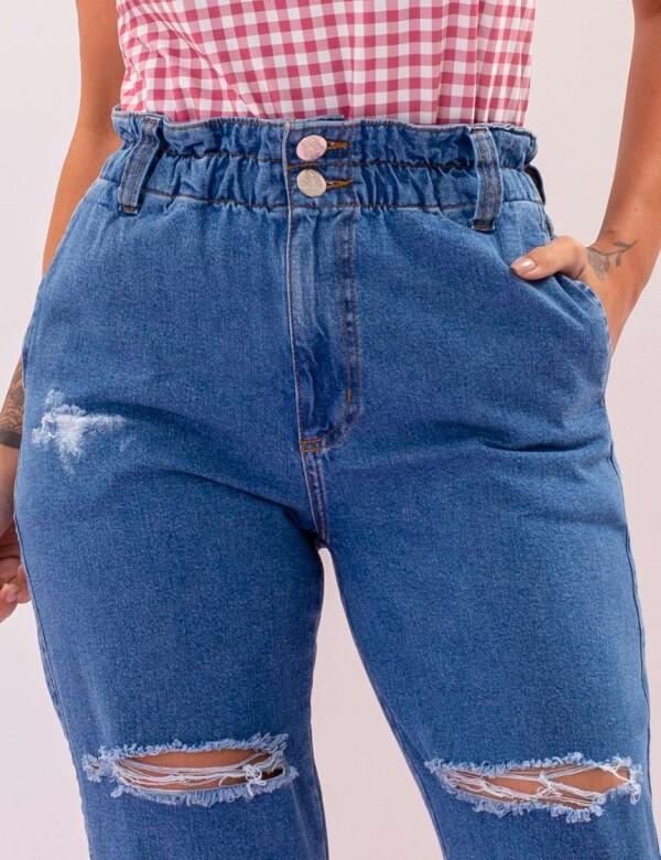 CALÇA JEANS FEMININA MOM DESTROYED - Jeans