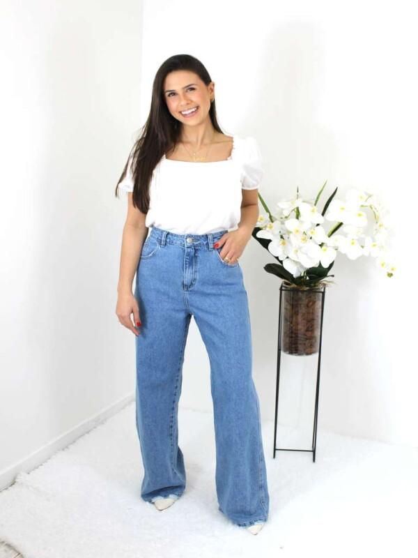 CALÇA JEANS FEMININA WIDE LEG - Jeans