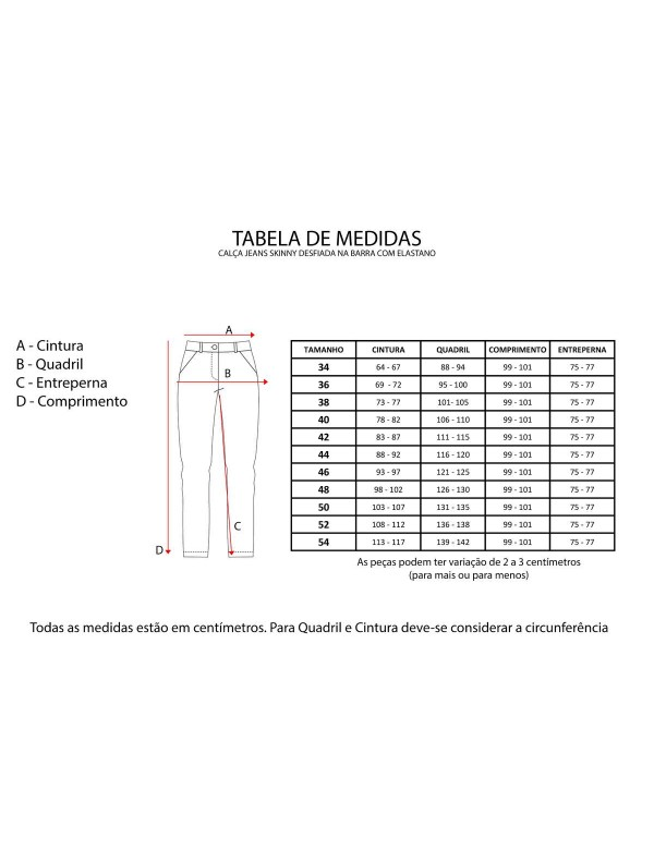 CALÇA JEANS SKINNY DESFIADA NA BARRA COM ELASTANO - Jeans