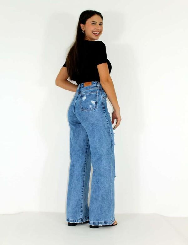 CALÇA JEANS WIDE LEG DETONADA FEMININA - COSH JEANS - Jeans