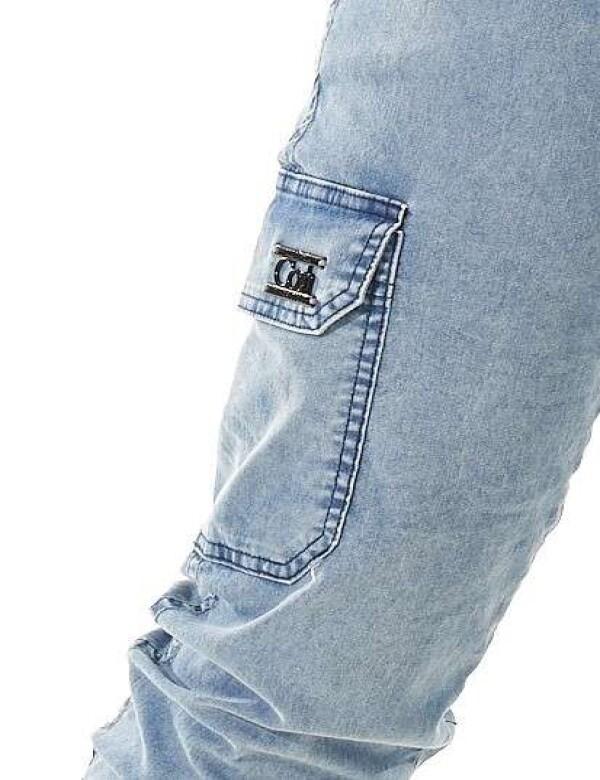 CALÇA JOGGER CARGO CLARA COM ELASTANO - Jeans