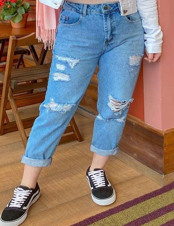 CALÇA MOM DESTROYED - Jeans