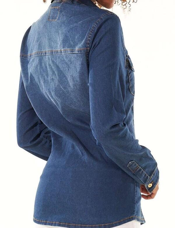 CAMISETE FEMININO COM ELASTANO - Jeans