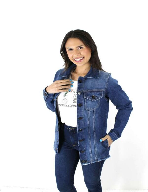 JAQUETA FEMININA JEANS COM ELASTANO - Jeans