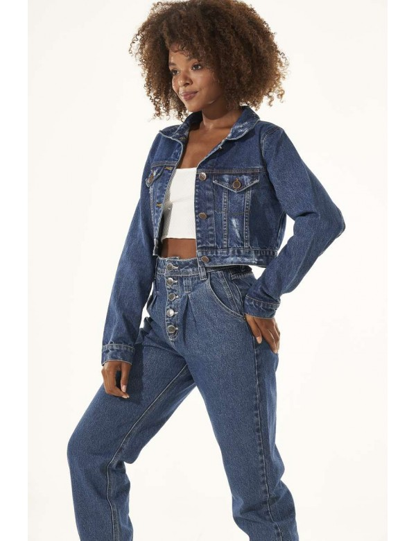 JAQUETA JEANS CROPPED DESTROYED - Jeans