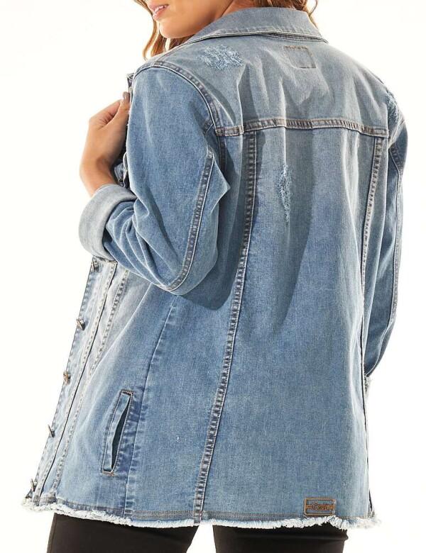 JAQUETA JEANS DESTROYED COM ELASTANO - Jeans