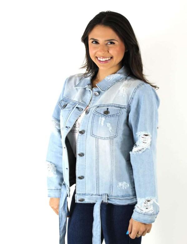 JAQUETA JEANS FEMININA DESTROYED - Jeans