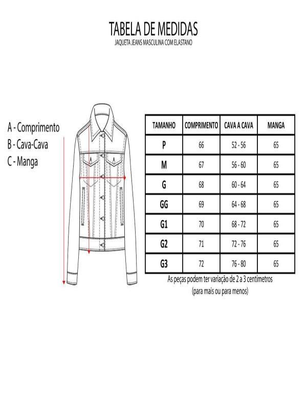 JAQUETA JEANS MASCULINA COM ELASTANO - Jeans