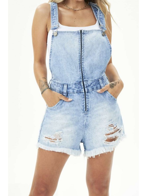 JARDINEIRA ZÍPER FRENTE DESTROYED CLARA - Jeans