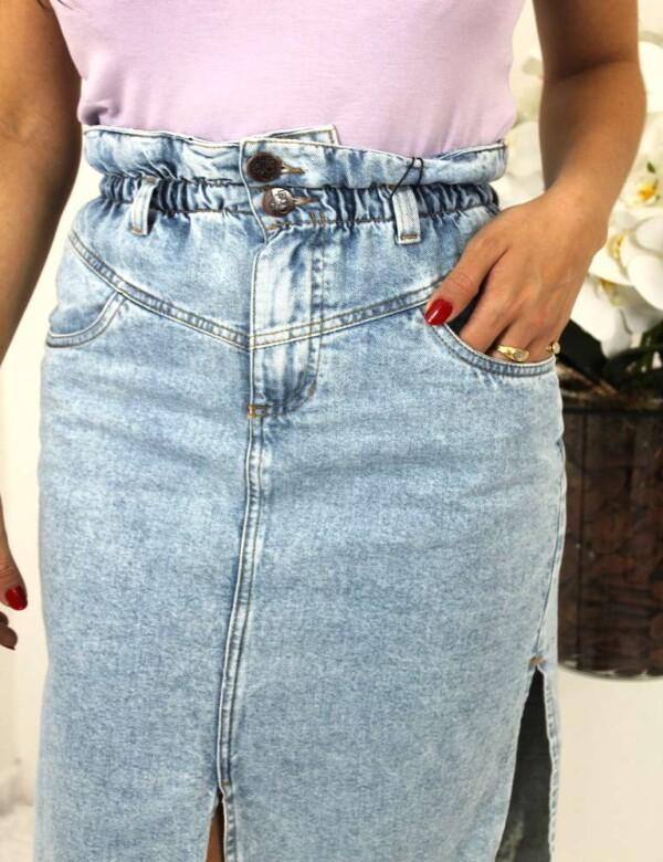 SAIA LONGA CLARA C/ELÁSTICO NA CINTURA - Jeans