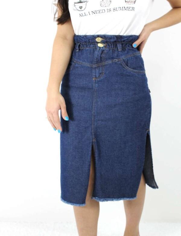 SAIA LONGA ESCURA COM ELÁSTICO NA CINTURA - Jeans