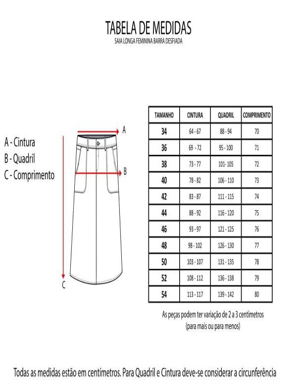 SAIA LONGA FEMININA BARRA DESFIADA - Jeans