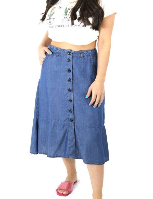 SAIA MIDI 100% ALGODÃO - Jeans