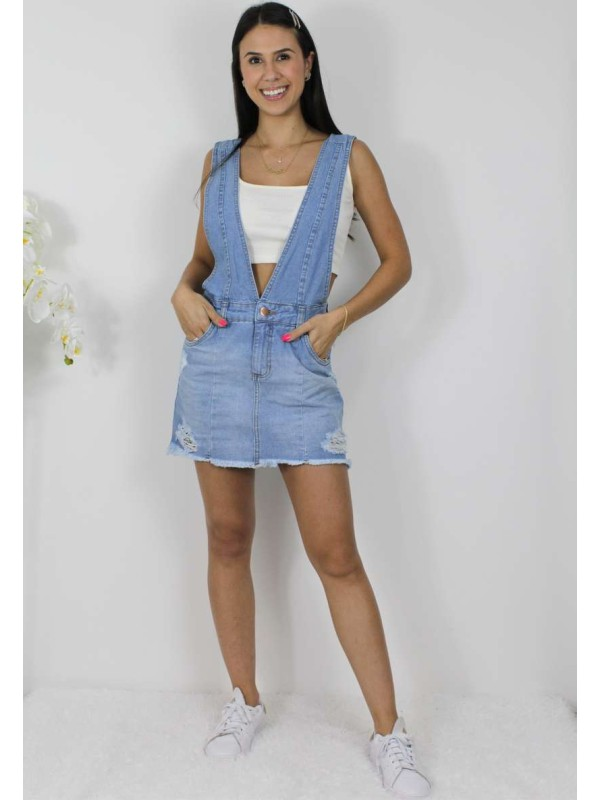 SALOPETE JEANS CLARO DESTROYED - Jeans