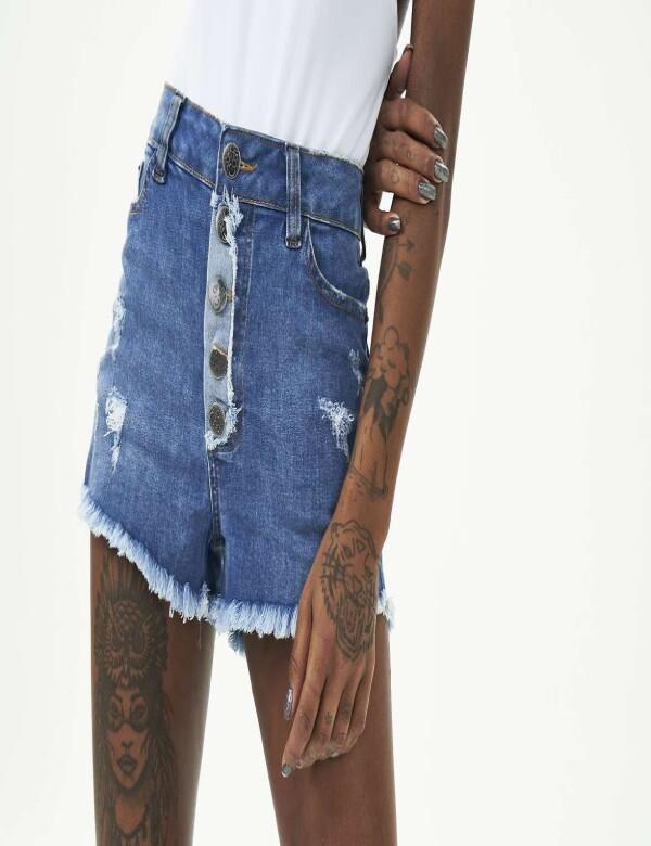 SHORTS BOTÕES FR COM ELASTANO - Jeans