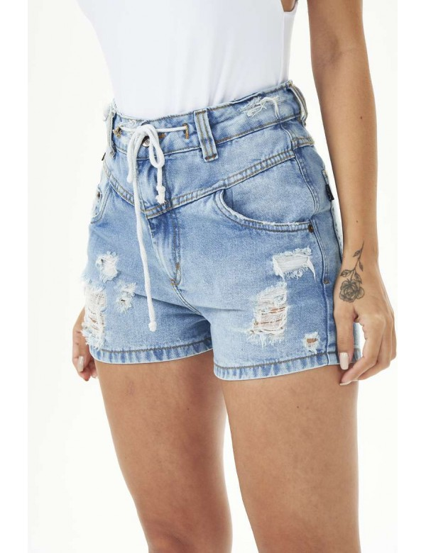 SHORTS DESTROYED RECORTE FRENTE - Jeans