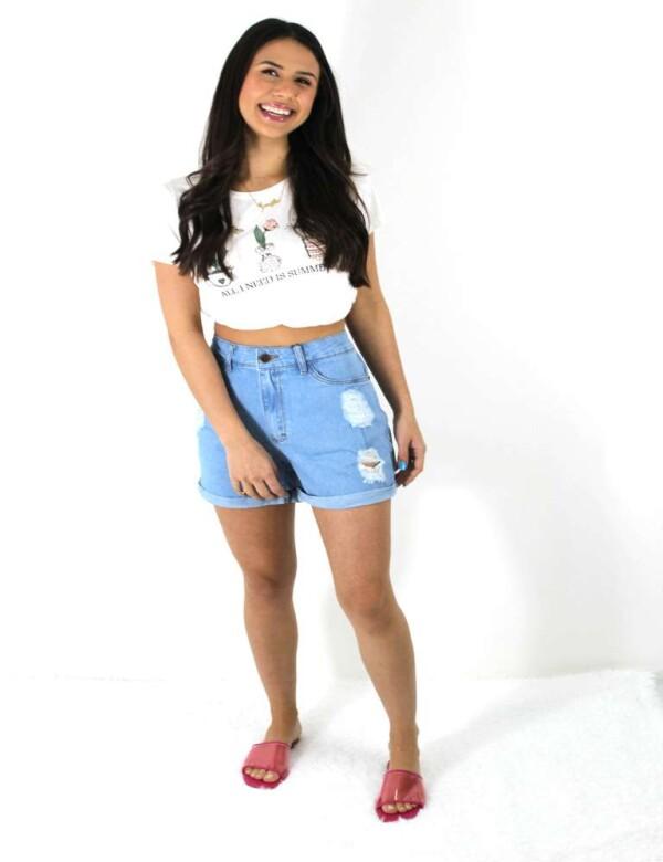 SHORTS FEMININO DESTROYED CÓS ALTO - Jeans