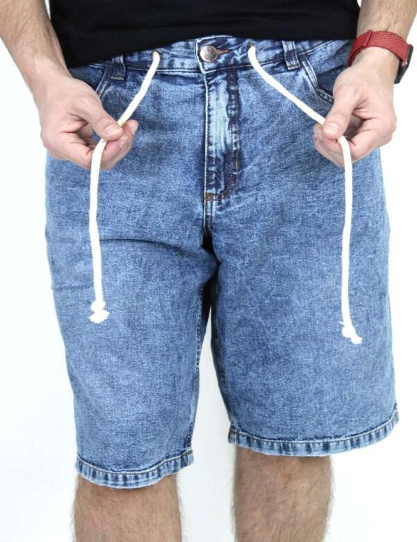 SHORTS JEANS MASCULINO MARMORIZADO COM CORDÃO - Jeans