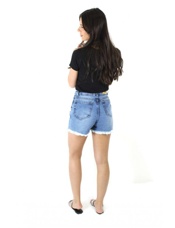 SHORTS MOM DESTROYED C/ RECORTE - Jeans