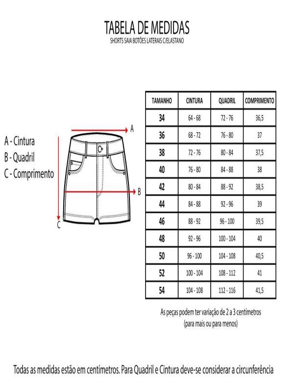SHORTS SAIA BOTÕES LATERAIS C/ELASTANO - Jeans