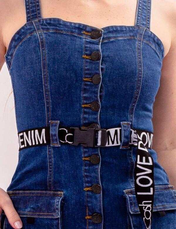 VESTIDO JEANS STONADO FEMININO COM BOTÃO FRONTAL - COSH JEANS - Jeans